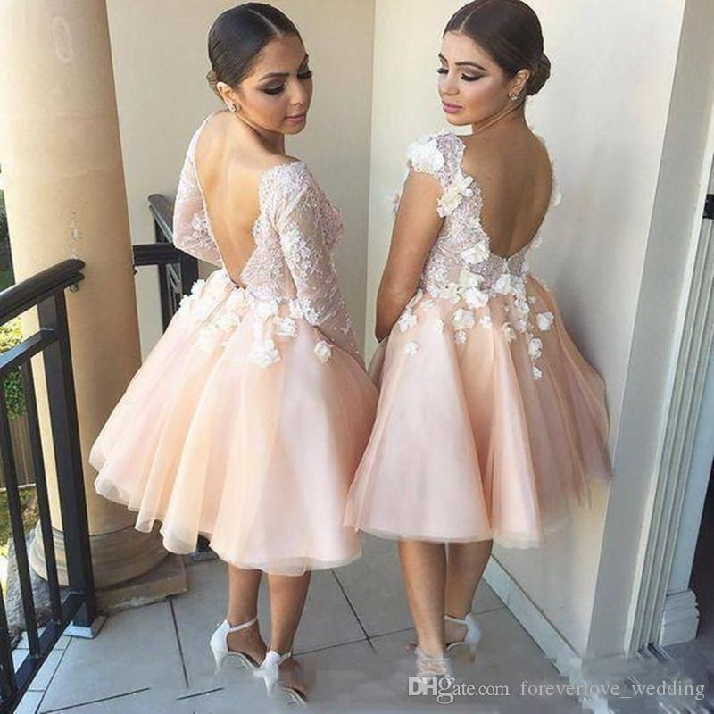 2018 Light Champagne Short Bridesmaid Dresses with 3D Flower Appliques Robe de Mariée Different 4 Styles Neckline Summer Maid of Honor Dress