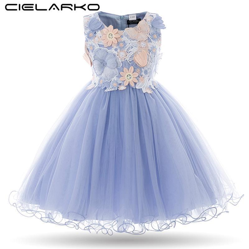 63762a7da100 Acquista Cielarko Kids Girls Flower Dress Neonata Farfalla Birthday Party  Dresses Bambini Fancy Princess Ball Gown Abiti Da Sposa Y1891203 A  27.05  Dal ...