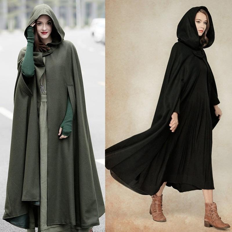 4fc2b8813b5 New Fashion Women s Fashion Autumn Winter Gothic Trendy Maxi Hooded Wool  Cloak Cardigan Coat Maxi Cashmere Hoodie Cape Plus Size