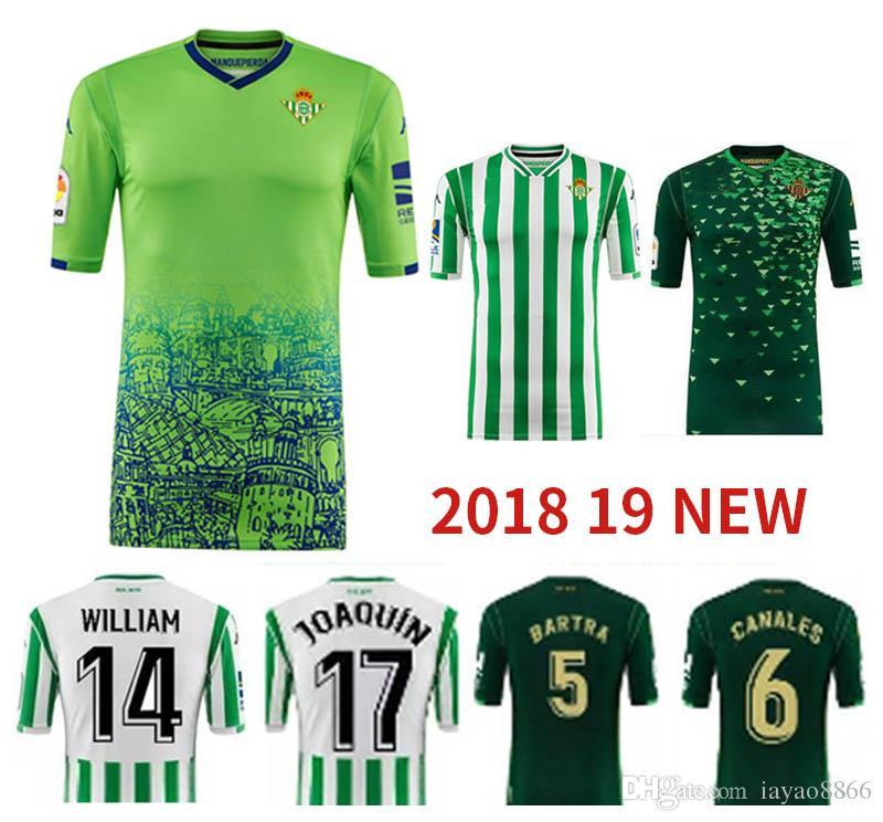 2018 19 Camiseta De Fútbol Royal Betis Local Y Visitante Segundo Visitante  JOAQUIN BOUDEBOUZ MANDI BARTRA TELLO INUI JAVI GARCIA CANALES Uniforme De  Fútbol ... ad642083d7681