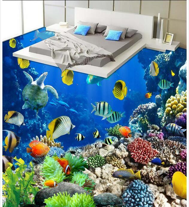 Suelo de pvc 3d foto personalizada Impermeable etiqueta de la pared del piso Hermoso mundo submarino vida tropical sala de estar 3d murales de pared fondo de pantalla