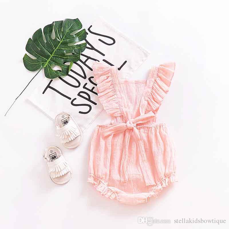 Sommer 2018 Süße Neugeborene Baby Strampler Solide Weiß Rüschen Strampler Backless Overall Outfits 0-24 Mt