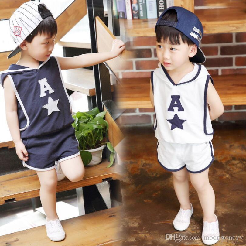 1833782f9 2019 Children S Clothing Hooded Vest+Shorts Set 2018 Summer New 1 2 ...