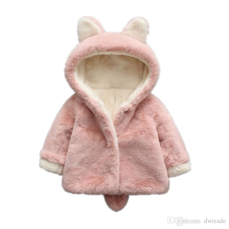 4924ed00a215 Baby Girls Winter Jackets Warm Faux Fur Fleece Coat Children Jacket ...