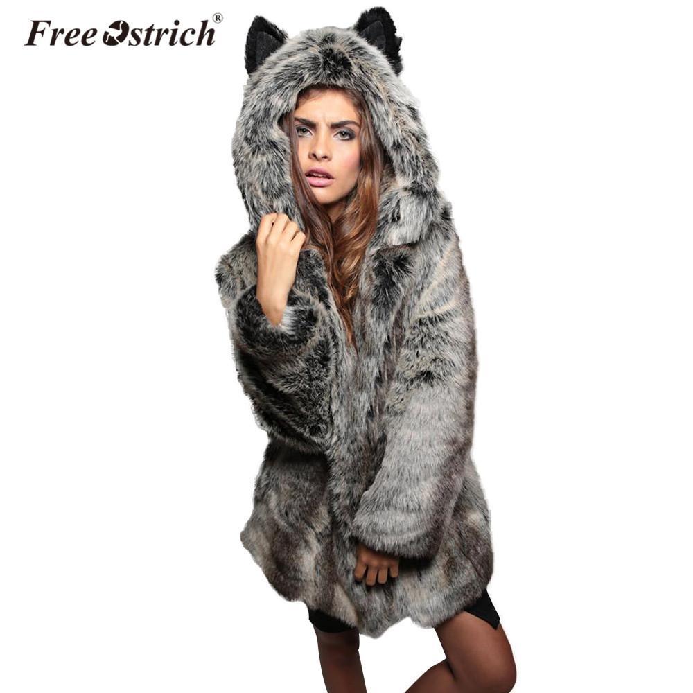 Compre Libre Avestruz Abrigo De Piel Sintética Otoño Invierno Con Capucha  Abrigo Mujer Abrigos Casacos De Inverno Feminino Mujer Chaqueta L0740 S112  A ... 0e4e302c374e