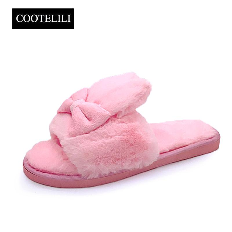 ecfc438f5344f2 COOTELILI Winter Women Home Slippers With Faux Fur Warm Shoes Woman Slip On  Flats Cute Rabbit Bowtie Female Slides Plus Size 41 Desert Boots Mens  Slippers ...