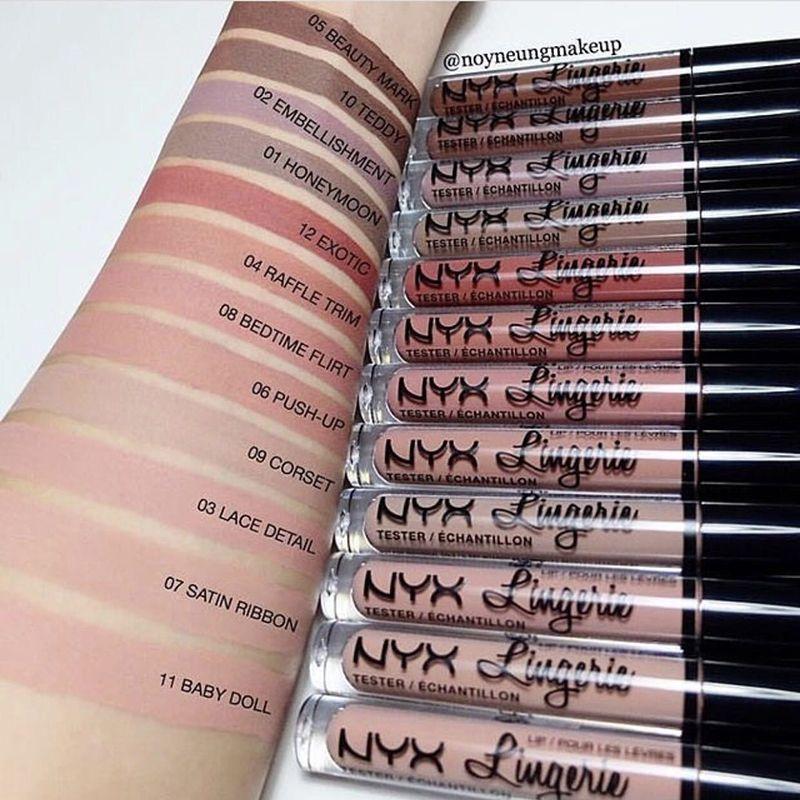 NYX Lingerie Lip Lingerie Liquido Labbra BAPSTICK Rossetto i affascinante Brand Trucco di trucco Rossetti Lip Gloss Spedizione gratuita