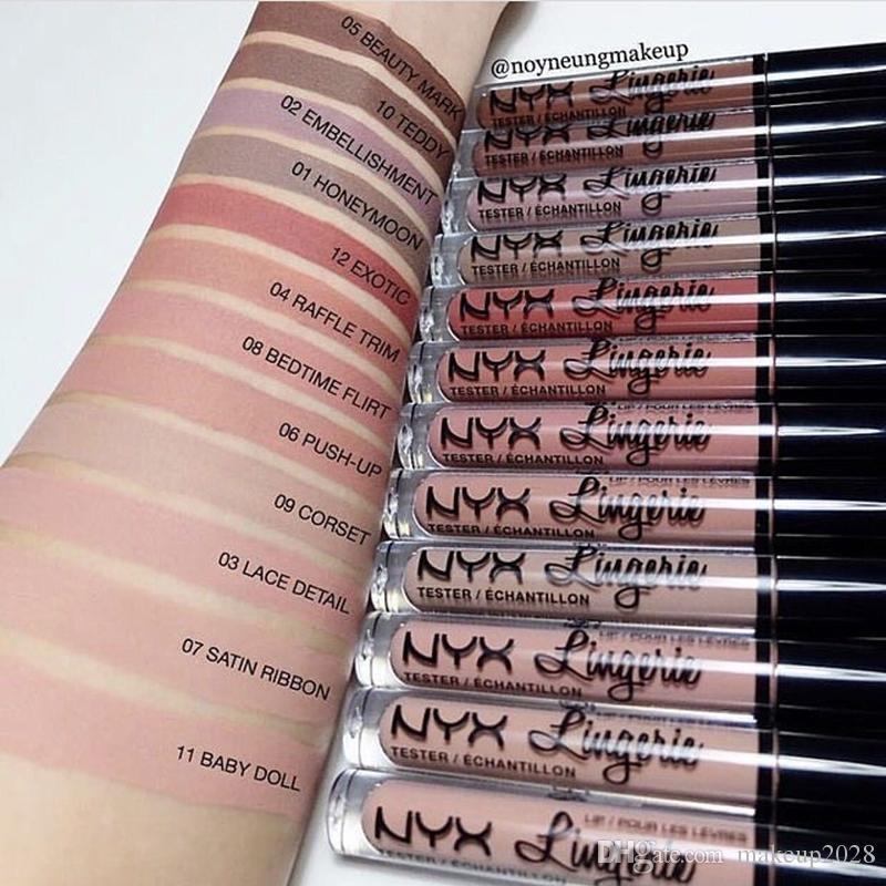 NYX Lip Lingerie Flüssiges Matte Lippencreme Lippenstift 12 Farben Charming Langlebig Marke Makeup Lippenstift-Lippenglanz-freies Verschiffen