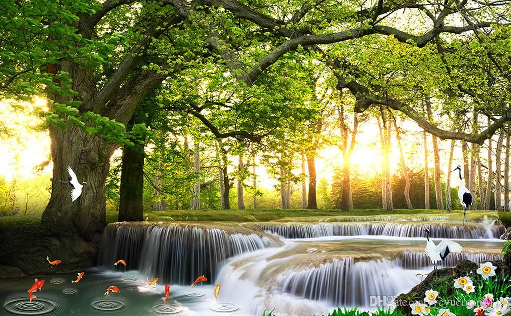 Custom Modern Wallpaper Waterfall Scenery Wallpaper For