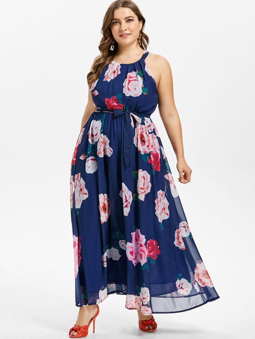 6049d73c135 Wipalo Casual Plus Size Belted Floral Print Maxi Dress Sleeveless O Neck A Line  Long Dresses Bohemian Flowy Beach Dress 5XL Dresses Sale Satin Dresses From  ...