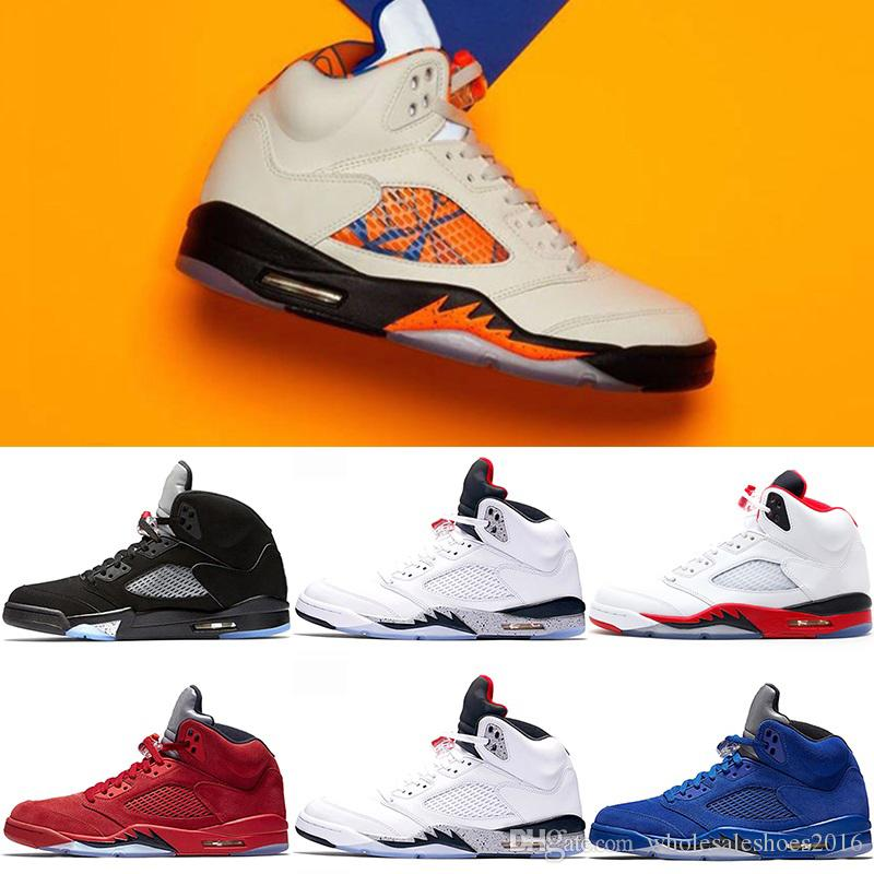 Mens 5 5s Basketball Shoes International Flight Blue Suede OG Metallic Black White Cement Fire Red Sport Sneakers Size 41-47 Free Shipping