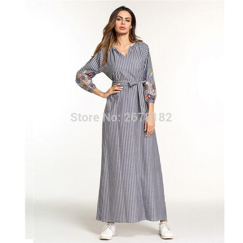 75bb0d113b87a Casual Embroidery Maxi Dress Muslim Abaya Kimono Stripe Flounce Long Robe  Gowns Loose Jubah Ramadan Middle East Islamic Clothing