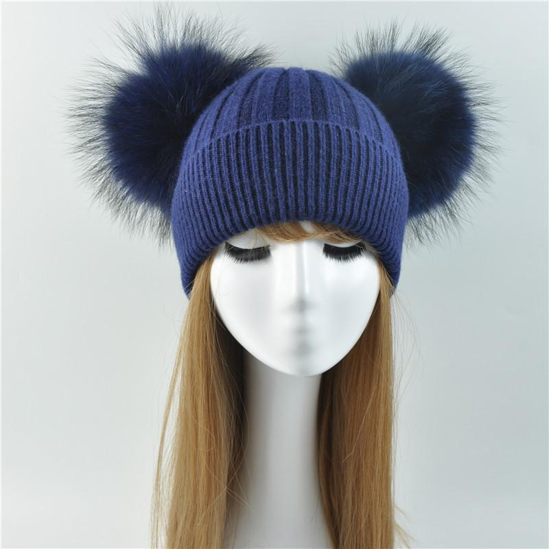 Double Real Raccoon Fur Pompom Hat Women Winter Caps Knitted Wool Hats  Skullies Beanies Girls Female Two Fur Pom Pom Beanie Hat S915 Online with  ... 3e51addb3864