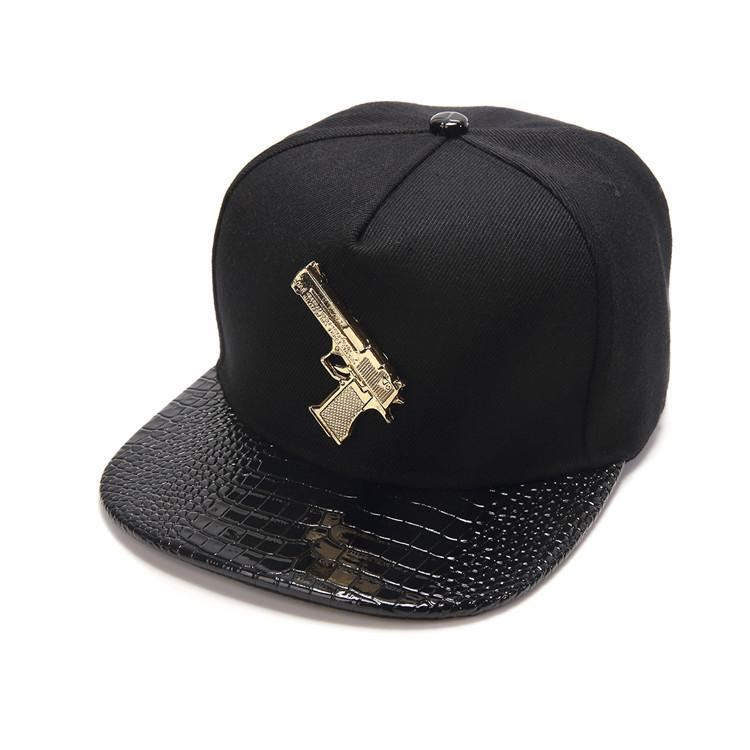 3786e982d01 High Quality Punk Style Golden Pistol Gun Logo Baseball Caps Men Women Charm  Gorras Snapback Hat Hip Hop Casquette Hats Adjustable Baseball Hat Hat  Store ...