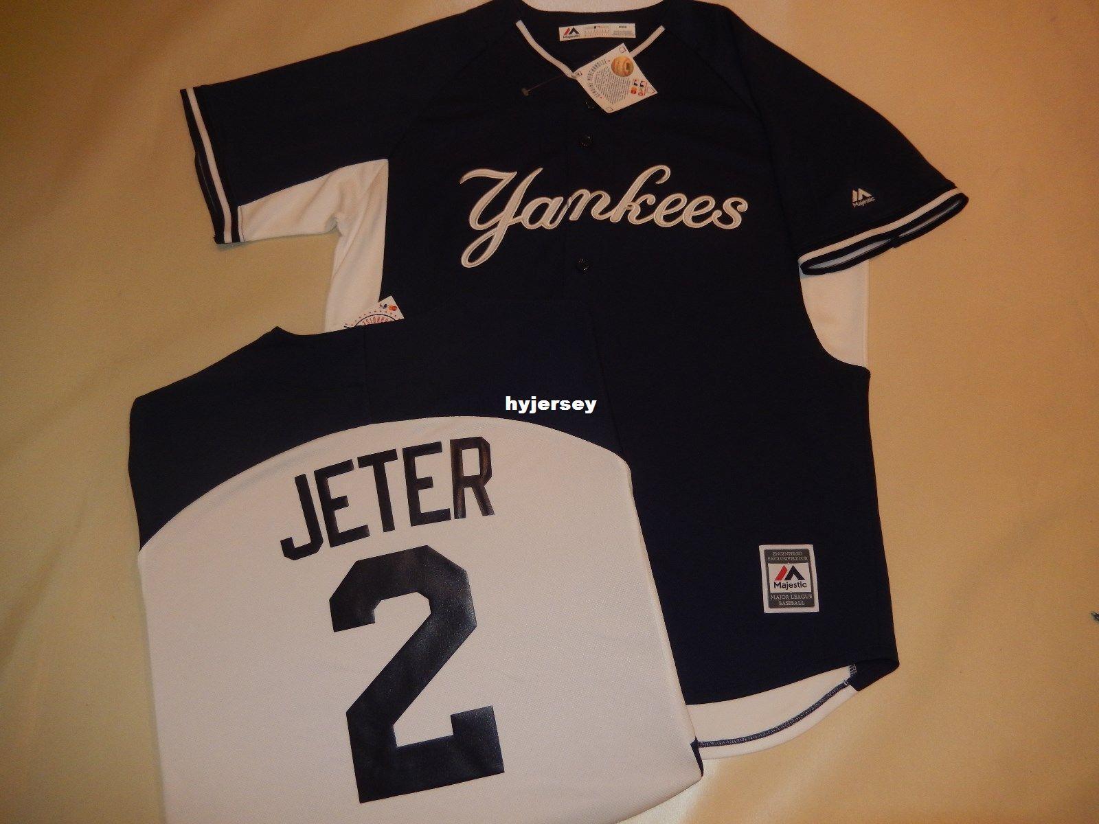 c7c0d493249 Cheap Custom New York  2 DEREK JETER Baseball Jersey BLUE New Mens ...