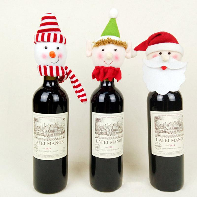 Christmas Decoration Supplies Red Wine Bottle Covers Santa Claus Snowman Elf Christmas Artigos Denatal Wine Bottles Hold Covers