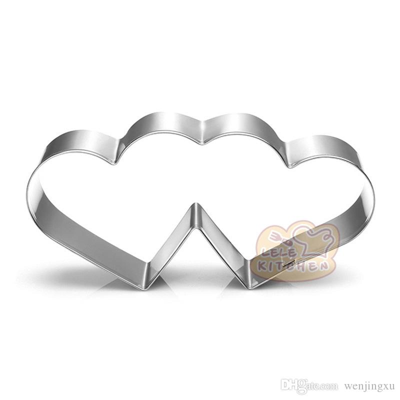 Wedding double heart cookie cutter Metal biscuit tool Fruit die cut Sushi stamp sandwich mold baking cake pastry tools cupcake topper