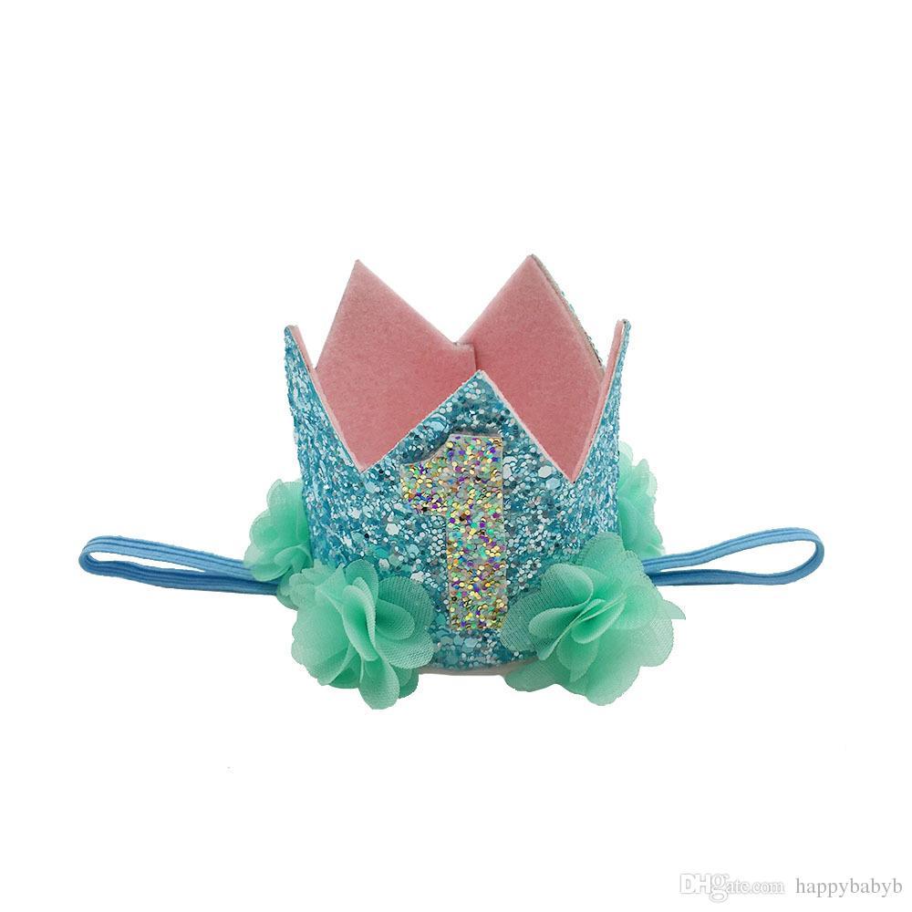 Neonate Sirene fasce ragazze Festa di compleanno festa in spiaggia Tiara hairbands bambini accessori capelli principessa Glitter Sparkle Carino fasce