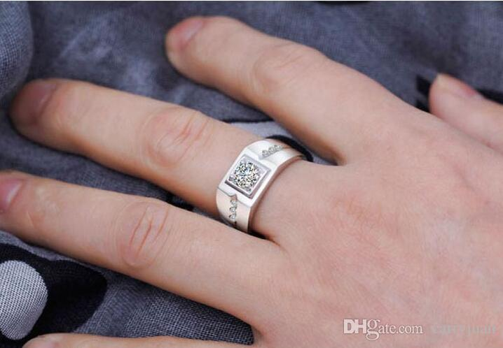 2018 New Arrival Sparkling Fashion Jewelry 925 Sterling Silver Solitaire White Topaz CZ Diamond Women Men Wedding Band Ring Gift
