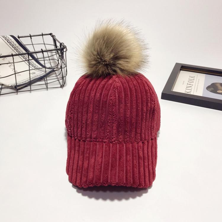 420d7cff2 Fashion ladies plush baseball cap Winter corduroy detachable big hair ball  cap women Korean Fashion autumn hat
