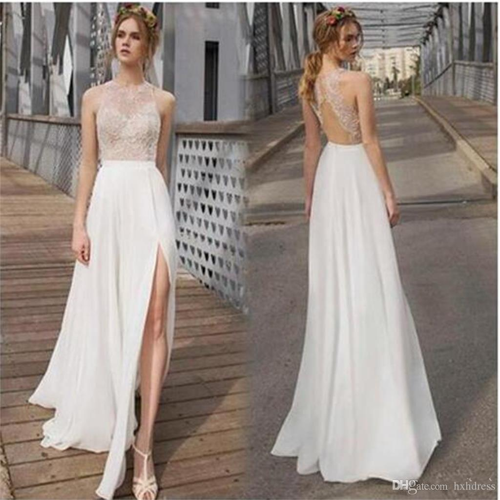 36cf10f2251 2018 New Sexy Floor Length Chiffon Wedding Dresses Jewel Open Back Slit  Beach Garden Lace Bridal Gowns Cheap Summer Robe De Mariée 2018 New Sexy  Lace Bridal ...
