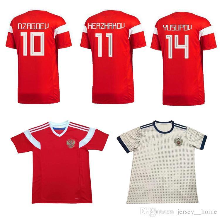 2018 Copa Del Mundo Rusia Soccer Jerseys 2018 Russian Home Red Away Blanco  Uniforme De Fútbol Thai Quality   10 DZAGOEV   11 SMOLOV Soccer Shirts Por  ... 6fd0fa6251f04