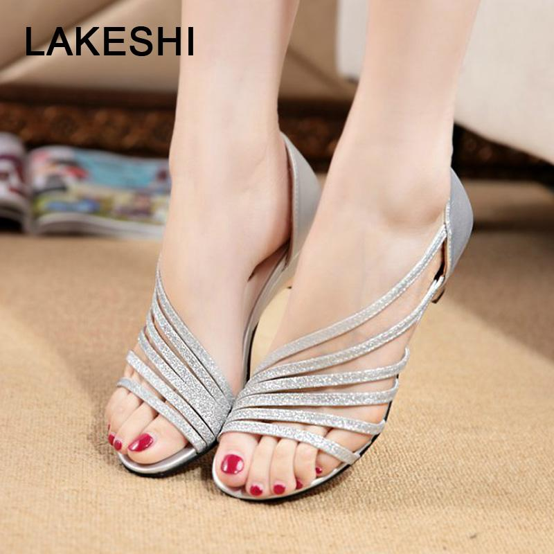 c2b9ef04a Fashion Bling Women Sandals 2018 New Summer Beach Shoes Casual Sandals Peep  Toe Women Shoes Gold Silver Buckle Ladies Brown Wedges Gold Wedges From  Annawawa ...