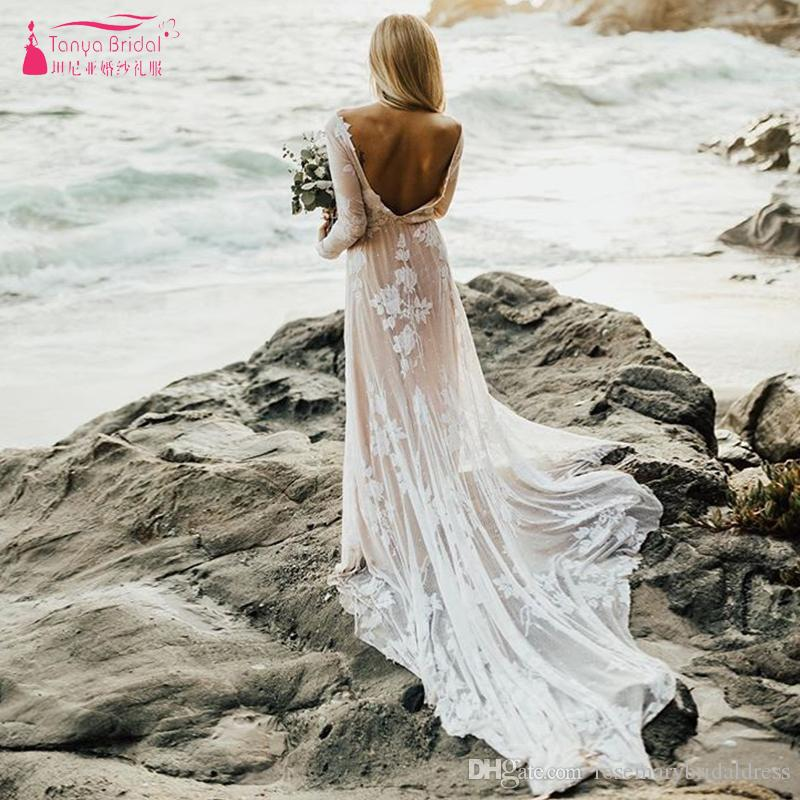 d0f7038f3802 Nude Linging Long Sleeve Wedding Dresses 2019 Sexy Backless Boho Beach  Bridal GYPSY Lace Appliques Robe De Soiree ZW127 Canada 2019 From  Rosemarybridaldress ...