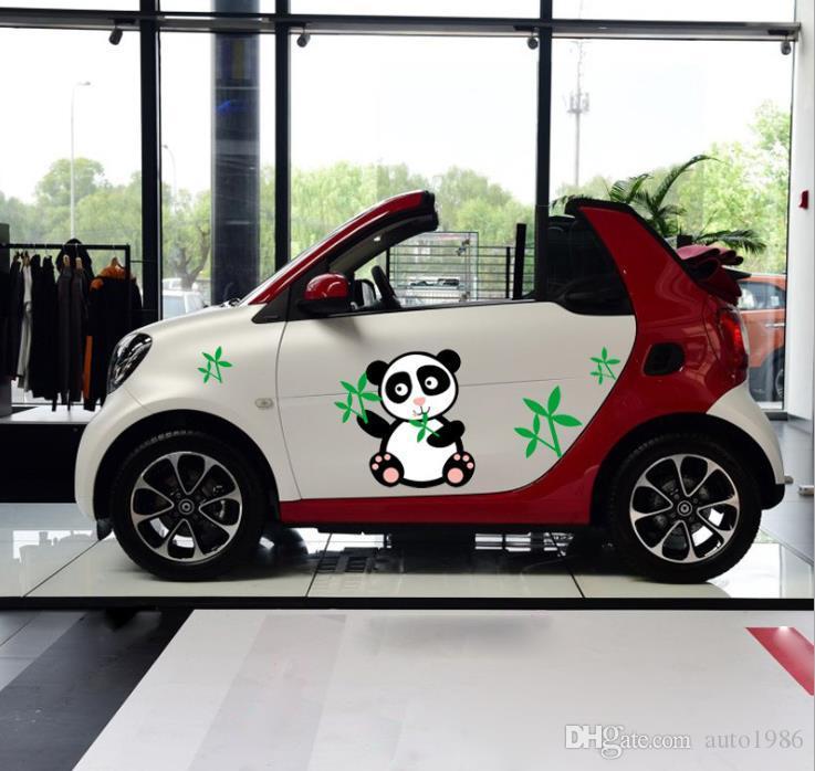 1 комплект автомобиль грузовик Авто Спорт черный панда зеленый бамбук графикой боковые наклейки тела наклейки капот