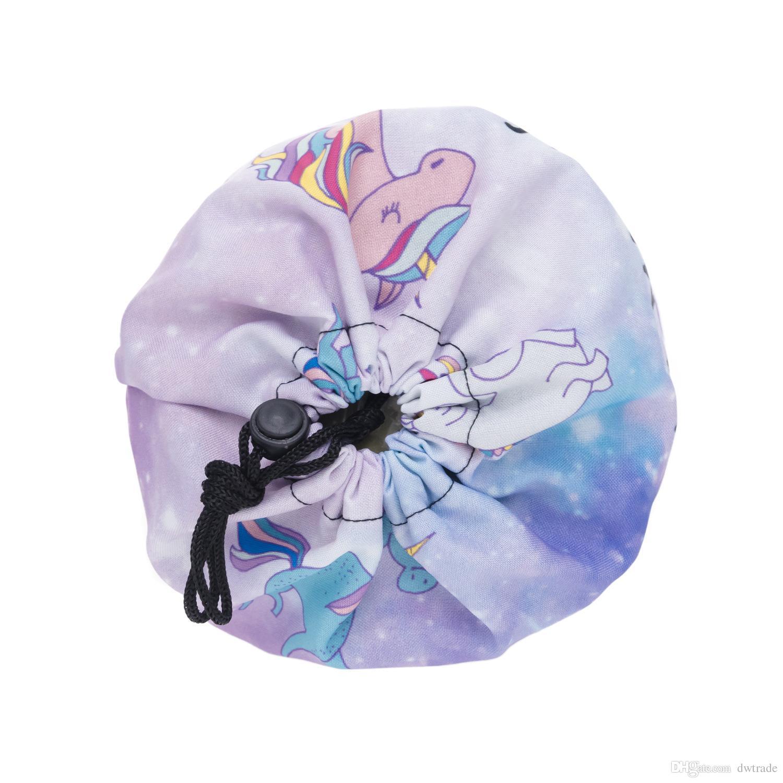 Unicornio 3D Patrón Impreso En Forma de Barril Maquillaje Bolsa Mujeres Cepillo Necessaries Bolsa de Cosméticos de Viaje Caja de Almacenamiento de Tocador Maquillaje Organizador de Lavado