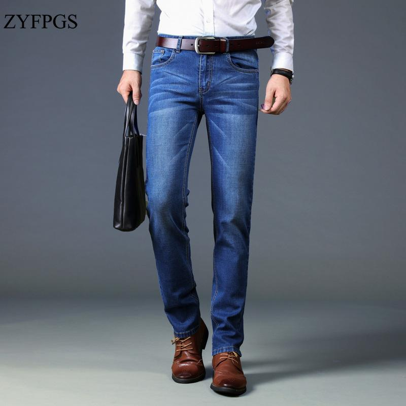 de7a60361bb06 ZYFPGS New Brand Slim Fit Full Length Black Jeans Men Autumn Fashion ...