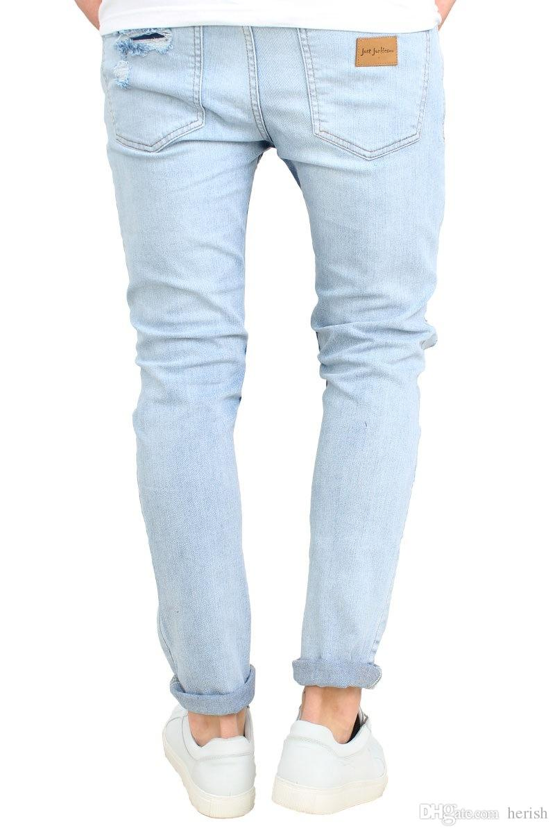 Fashion Mens Ripped Slimfit Skinny Jeans Stretch Denim Distress Frayed Pencil Pants Jeans Boys Stylish Long Skinny Hole Jeans
