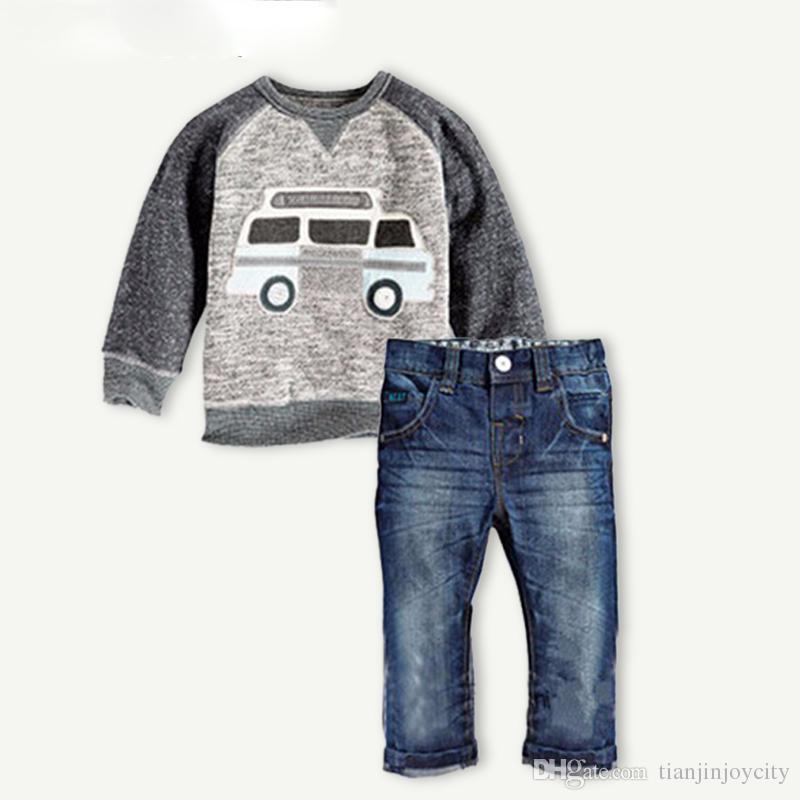 91b9898c1 Autumn Children Boys Clothes Sets Long Sleeve T-shirt+Jeans 2pcs Kids Suits  Cartoon Car Pattern Boys Clothing Sets