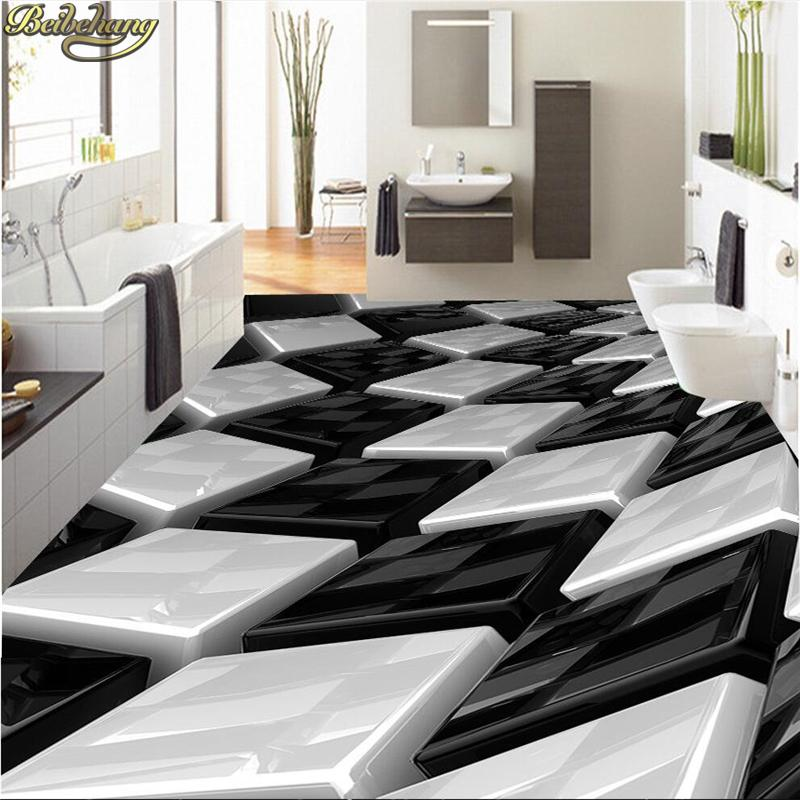 Beibehang Personnalise Papier Peint 3d Noir Et Blanc Boite En Trois Dimensions Salle De Bain Murale Pvc Auto Adhesif Plancher Impermeable A L Eau