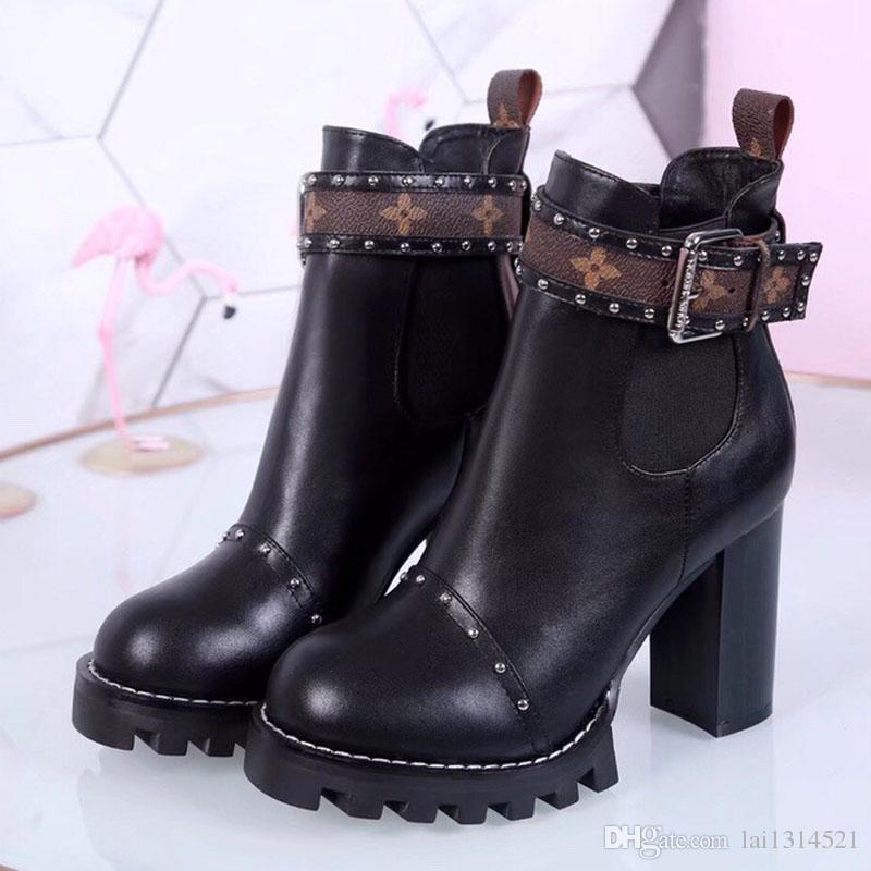 Luxury Top Brand Women Martin Ankle Boots In Black Chunky Heel Platform  Knight Motorcycle Cow Leather Designer Winter Boots Size 35 41 Riding Boots  Cheap ... c6b563d6b