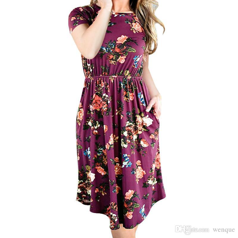 3d9e8a58c5428 2019 Once 3.28 Beach Casual Female Plus Size Sundress Women Boho Sexy  Floral Printed Dress A Line Vestido Short Sleeve O Neck Pocket From Wenque