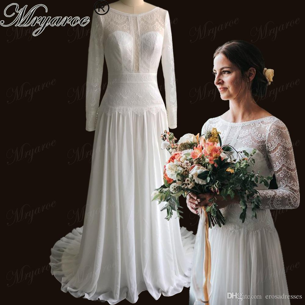 Discount Mryarce Boho Chic Delicate Lace Wedding Dress Illusion Long Sleeves  Open Back Bridal Gown Bohemian Dresses Vestido De Noiva Wedding Dresses  Aline ... c57edcde8c63