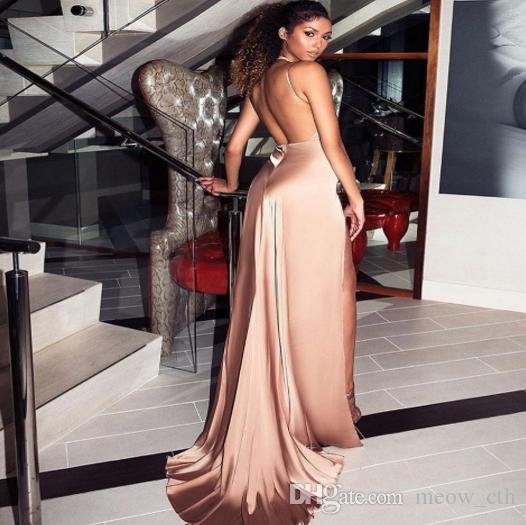 2018 abito da ballo Evening Party Club Abito elegante estate Donna Abiti sexy seta e raso Abito da sera lungo Maxi