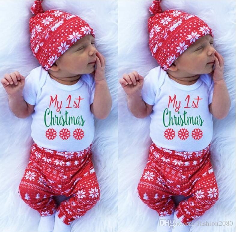 2018 christmas baby costumes cloth infant toddler girls first christmas outfits newborn christmas romper clothing set birthday gift from fashion2080