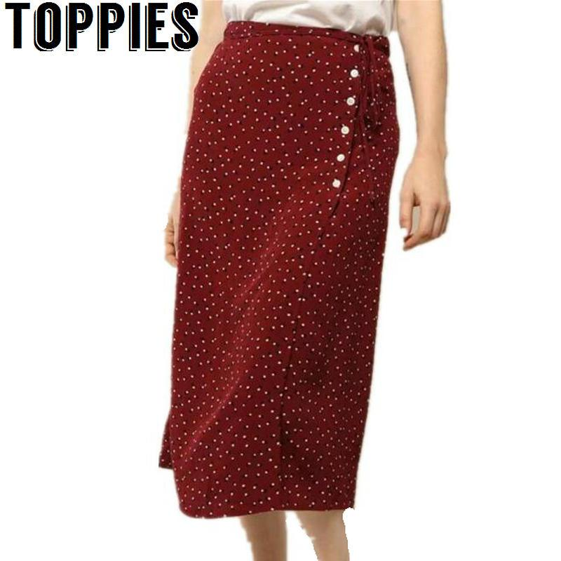 2018 Women Vintage Wrap Skirt Buttons Dots Printed Midi Skirt Wine Red  Black Navy Colors Long