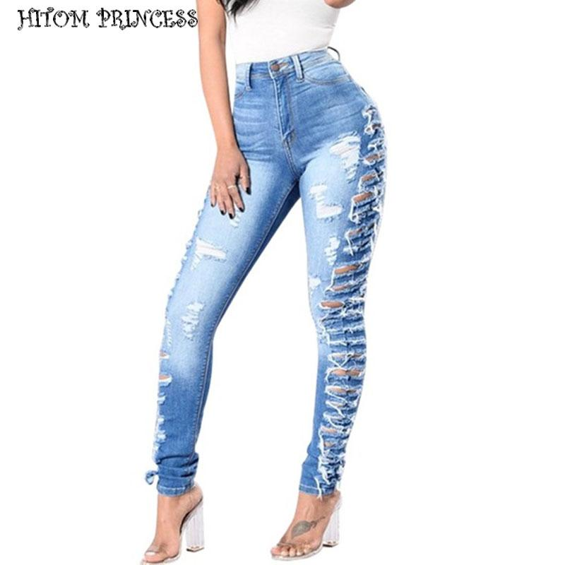 1f271a94e06 2019 HITOM PRINCESS Hole Hollow Out Skinny Jeans Women Plus Size Ripped  Jeans Woman Blue Denim Femme Distressed Pencil Pants From Chencloth66, ...