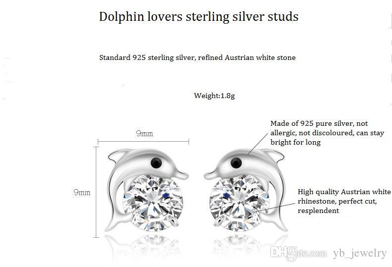 Natürliche österreichische Strass Kristall Dolphin S925 Sterling Silber Ohrstecker klassische Swarovski Elements Fashion Class Frauen Mädchen Geschenk