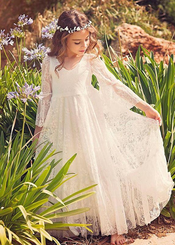 2021 Ucuz Satılık Özel Dantel Çiçek Kız Elbise Beyaz Fildişi Boho ilk komünyonu Elbise İçin Küçük Kız V-Yaka Biçimsel Çocuk Doğum Giyim
