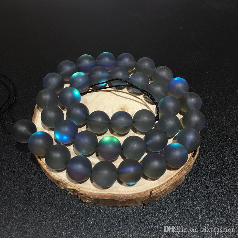 8mm Matt Poliert Frosted Multicolor Mondstein Perlen Lose Kristall Quarz Runde Flash Stein DIY Perlen Strang 15