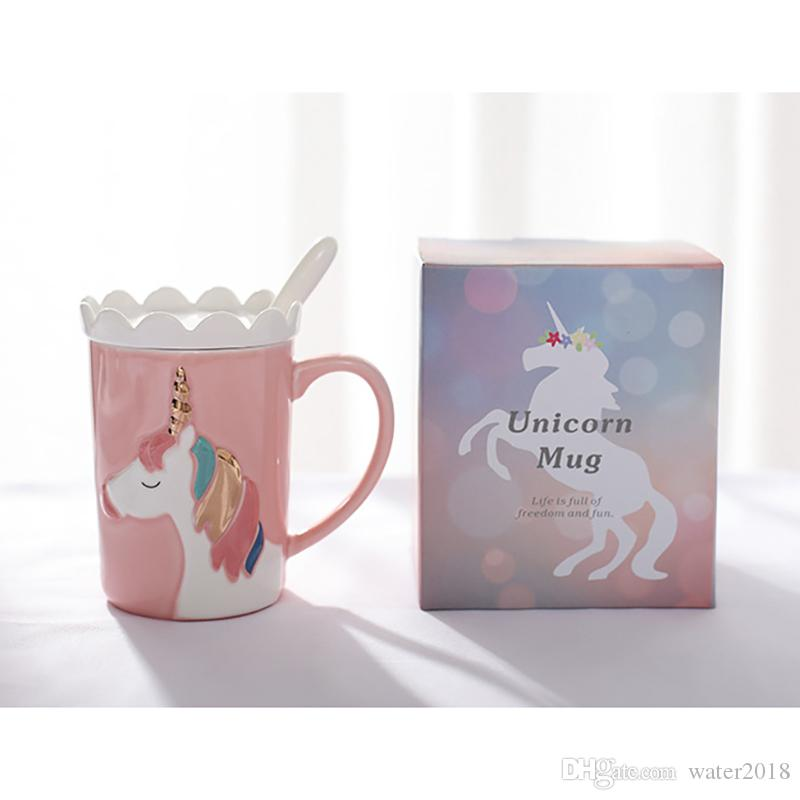 2018 Unicorn Cups Kawaii Horse Mugs Ceramic Cup Water Bottles Coffee Mugs Milk Mugs Tea Cups Free DHL 338