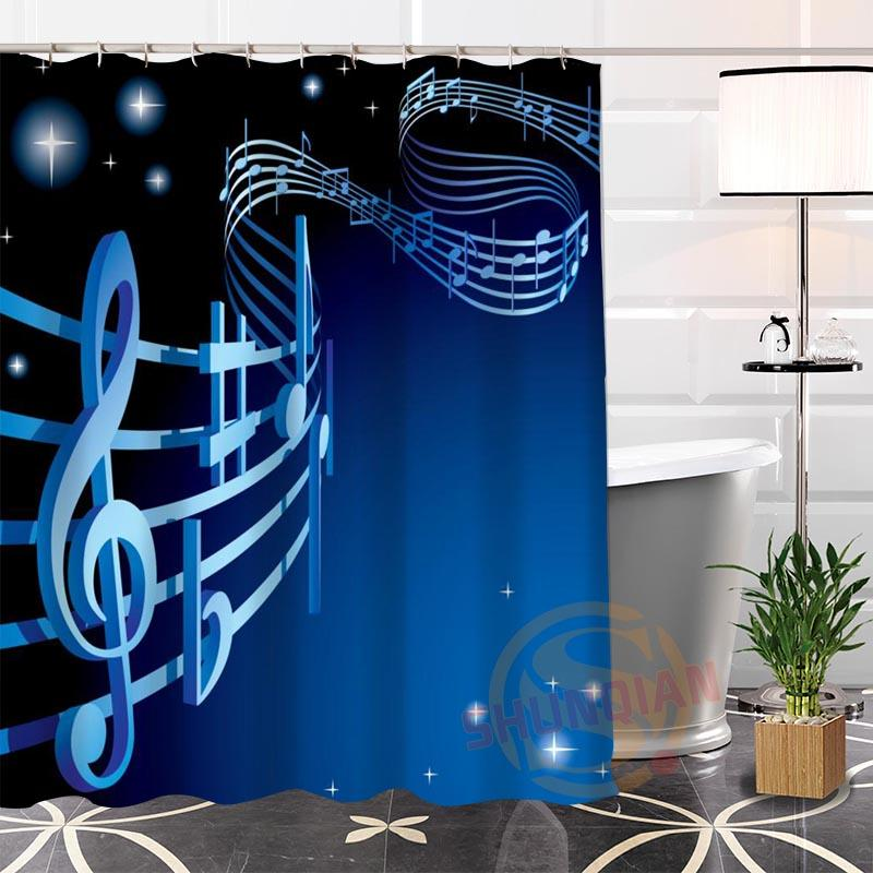 2019 100 Polyester Custom Musical Note Shower Curtain Fabric Modern Bathroom With Hooks New Arrival From Williem 415