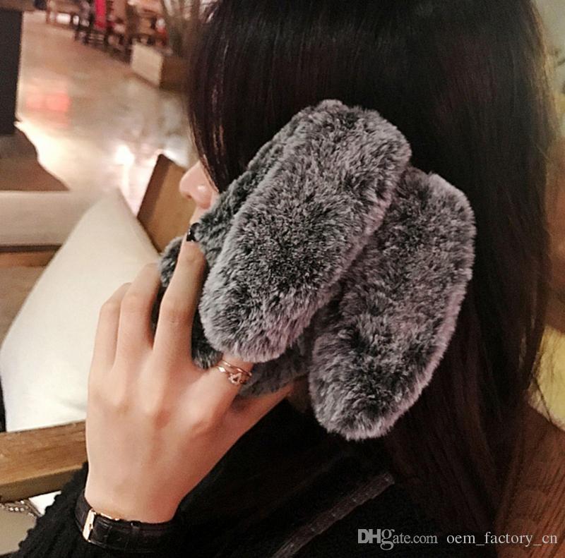 Caso di lusso caldo 3D coniglio telefono peluche pelliccia pelosa TPU copertura posteriore iPhone Xs Max Xr X 8 7 6s Plus