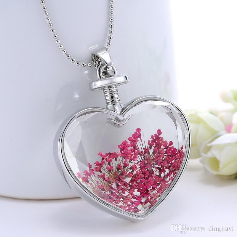 رومانسية الأحمر الجاف زهرة collares خمر فضي اللون مجوهرات للنساء الأزياء بيان الزجاج قلادة غرامة مجوهرات