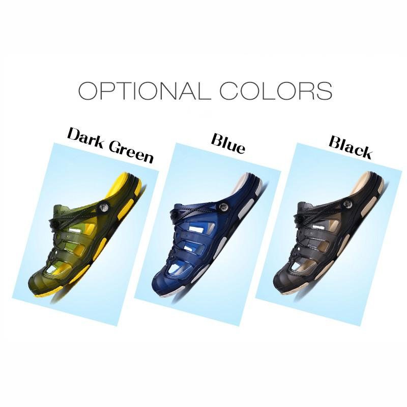 Wholesales New Men Fashion Summer Hollow Out Beach Sandals Outdoor Sandals Soft Flat Shoes Slip On Indooor Slippers Cover Toes eur 40-45