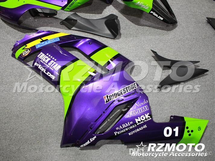 3 regalos gratis Nuevo juego de carenado para kawasaki Ninja 07 08 ZX 6R 636 2007 2008 Ninja ZX6R ZX636 ABS carenados completos kits de carrocería verde púrpura
